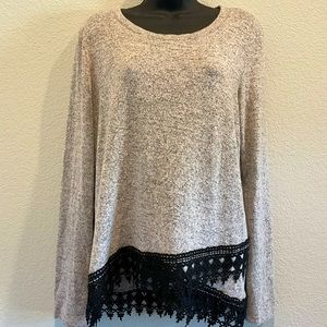 Have Heathered Gray Long Sleeve Top w/ Crochet L